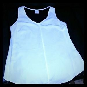 Cabi layered white top w/ black detail in the back